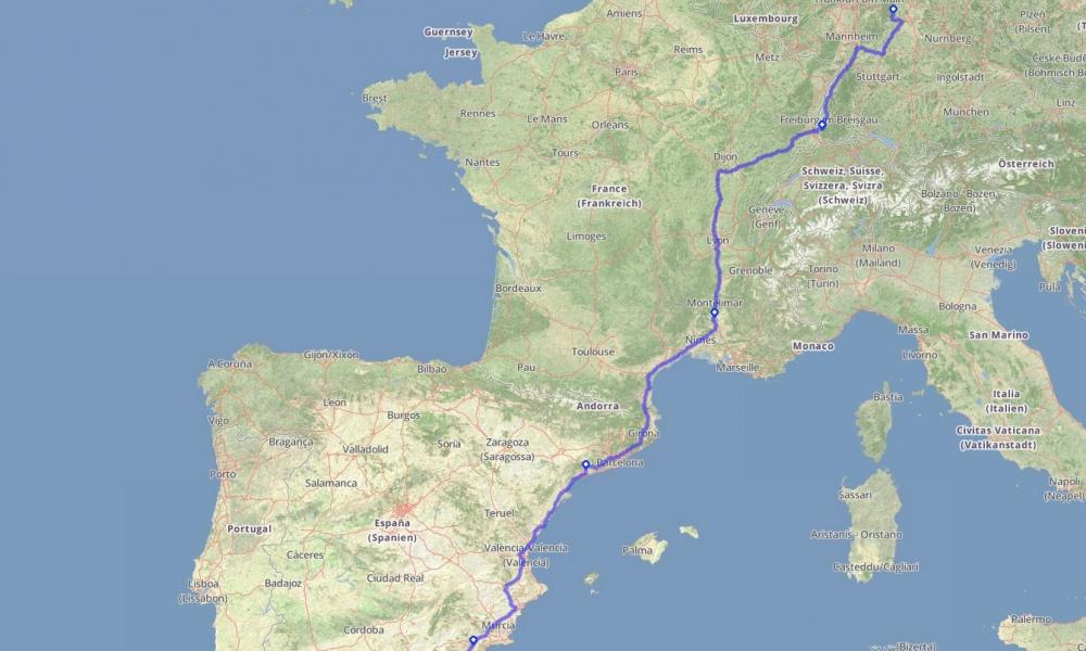 Tourplanung bis Tarifa (ES)